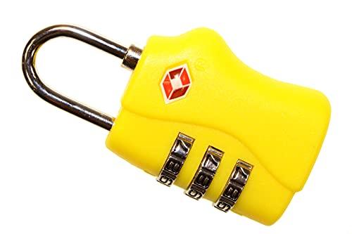 Candado de combinación para viajes, equipaje y maletas, color amarillo