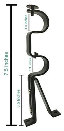 Double Curtain Rod Brackets - Black (set of 4) – TEJATAN (Also known as - Double Drapery rod bracket set for Draperies / adjustable double curtain rod bracket)