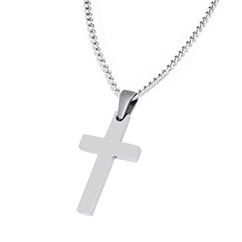20 * 35mm Stainless Steel Simple Plain Cross Pendant Necklace with 60cm Chain for Christmas Day Birthday Gift Silver Colour