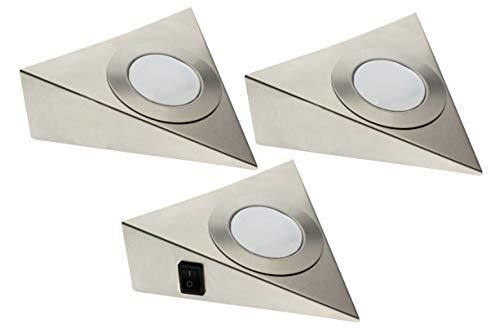 Trango 3er Set LED Unterbauleuchte TG6739-32 / Einbauleuchten/Einbaustrahler/Küchen-Unterbau-Leuchten/Küchenleuchte aus rostfreiem Edelstahl inklusive 3 x 3 Watt 3000K warm-weiß LED Modul