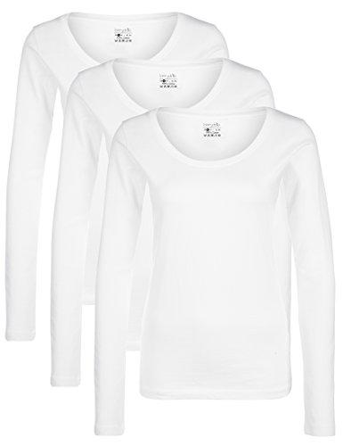 Berydale T-shirt à manches longues et col rond pour femme, lot de 3, Blanc, S