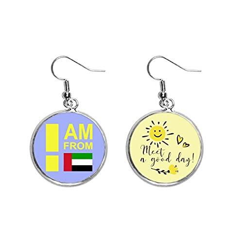 I Am From United Arab Erates Ear Drop Sun Flower Pendiente Joyería Moda