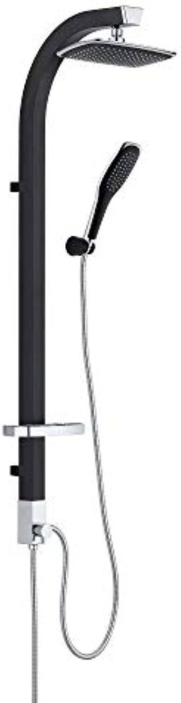Dusch Set Aluminium Duschpaneel Duschsule überkopfbrause Set Regendusche Handbrause Schwarz