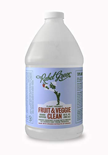 Rebel Green Fruit & Veggie Wash - Natural Produce Wash - Plant-Based Vegetable Wash Spray - Fruit and Vegetable Wash with No Aftertaste - Sustainable Food Wash - (Half Gallon Refill Bottle)