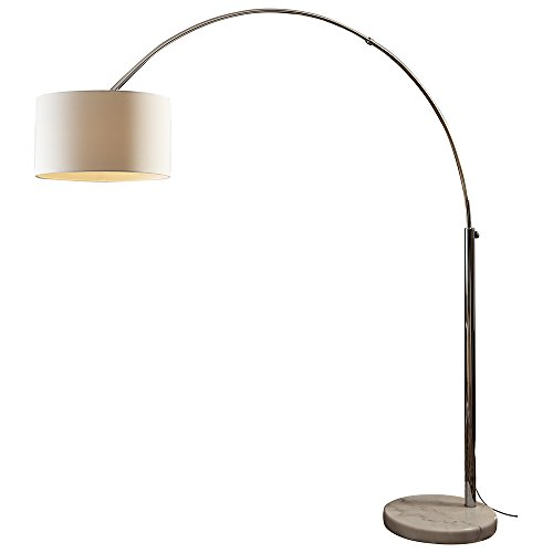 SalesFever Steh-Lampe dimmbar weiß mit Standfuß aus Marmor 210x180 cm | Iluma | Steh-Leuchte groß mit Lampenschirm aus Textil | Bogen-Lampe für Wohnzimmer 210cm x 180cm