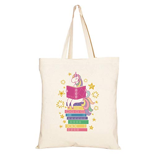 Funny Unicorn Gift - Canvas Tote Bag Gift With A Book Theme - Gift For Girls, Teens,Students, Classmate,Friends, Book Lovers, Readers, Bibliophiles,Birthday Valentine'S Day, Back School,Christmas