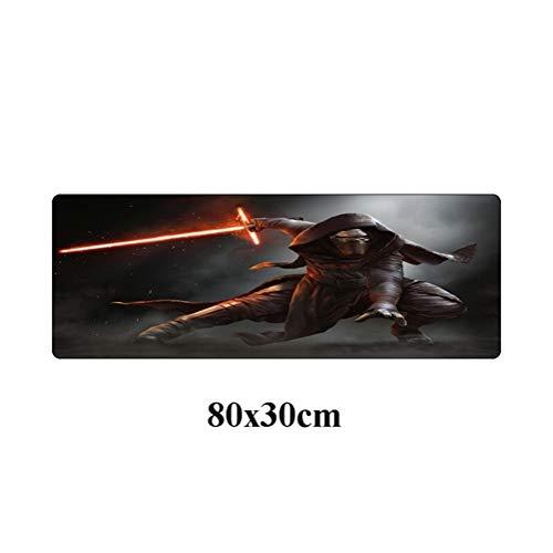 Cojín de ratón Grande 80x30cm Star Wars Durable de Goma Juego Mousepad Moda portátil portátil de Escritorio del Ordenador Gamer Mat Antideslizante Alfombrilla de ratón (Color : Gray)
