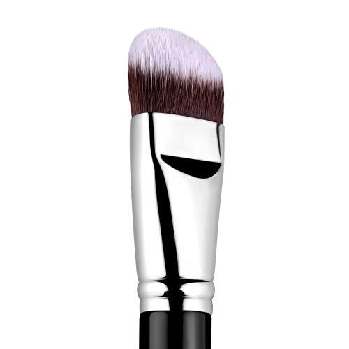 Pennello per fondotinta PRO inclinato per maschera correttore liquido Pennello Kabuki con fibra premium Forma unica della testa perfetta per liquidi, crema e polvere - Pennello per lucidare