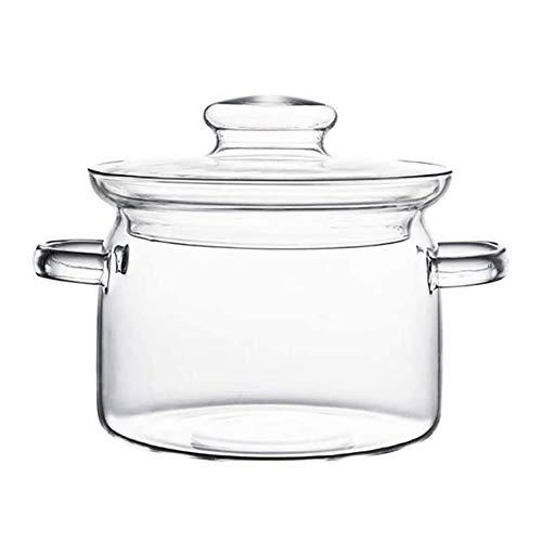 DPFXNN Pentola per zuppa in Vetro Trasparente da 2,5 Litri, Resistente al Calore con Coperchio Pentole per Spaghetti istantanei Utensili da Cucina per Uso Domestico, per Cucina Commerciale