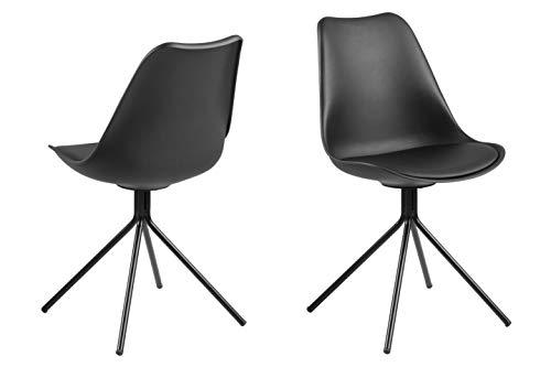 Amazon Brand - Movian Arendsee - Juego de 2 sillas de comedor, 42 x 48,5 x 85cm, negro