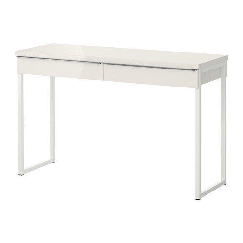 Ikea Schreibtisch/Laptop-Tisch Besta Burs beidseitig lackierter Beistelltisch mit Zwei Schubladen - Sideboard Hochglanz weiß - BxTxH 120x40x74 cm