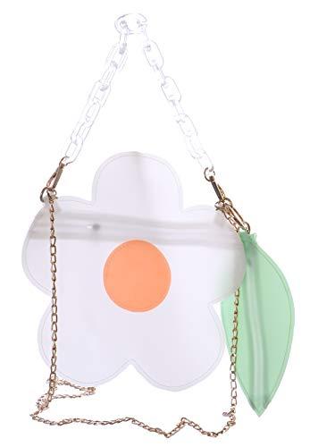 Kawaii-Story LB-6031-2 - Bolso para mujer con asas de plástico transparente y diseño de flores, color blanco y verde