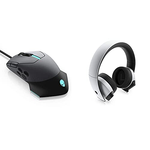 Alienware Gaming Mouse 510M RGB Gaming Mouse AW510M: 16, 000 DPI Optical Sensor - Alienfx RGB - 10 Buttons & 7.1 PC Gaming Headset AW510H-Light: 50mm Hi-Res Drivers - Noise Cancelling Mic, Gray