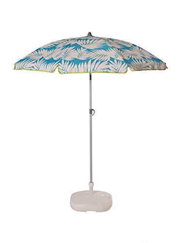 Ezpeleta Sombrilla de Playa de Aluminio|Sombrilla terraza|Parasol Plegable y Ligero|Inclinable|Protección Solar UPF 50+|Incluye Funda y Rosca|Tejido Estampado (Hojas-Azul)
