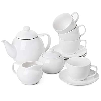BTaT- Royal Tea Set, 4 Tea cups (8oz), Tea Pot (32oz), Creamer and Sugar Set, China Tea Set, Tea Service, Tea Cups and Saucer Set, Tea Set for Adults, Tea Cups Set of 4, Porcelain Tea Set