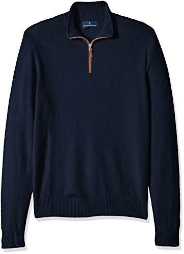 Amazon Brand - BUTTONED DOWN Men's 100% Premium Cashmere Quarter-Zip Sweater, Midnight Navy, XX-Large