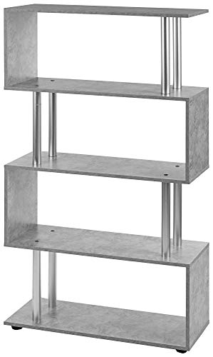 ts-ideen Design Raumteiler Regal Wand Hochregal Standregal Bücherregal Holz Grau Betonoptik