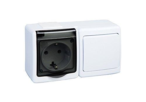Preisvergleich Produktbild 1-Fach Aufputzsteckdose mit Schalter IP44 16A / 250V Schuko Aufputz Feuchtraum Steckdose WE / DY