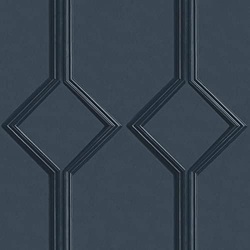 Sophie Laurence Luxury Geometric Trellis Azzurra Panel Navy Wallpaper for...