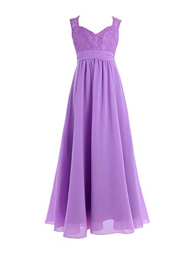 CHICTRY Youth Big Girls Junior Chiffon Lace Wedding Party Bridesmaid Ball Gown Maxi Long Flower Dress Lavender 14