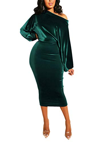 Salimdy Womens One Off Shoulder Midi Dress Long Sleeve Velvet Sexy Bodycon Party Pencil Dress Green S