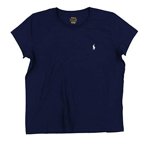 Polo Ralph Lauren Camiseta con cuello redondo para mujer, Azul marino/flor y brillo, XS