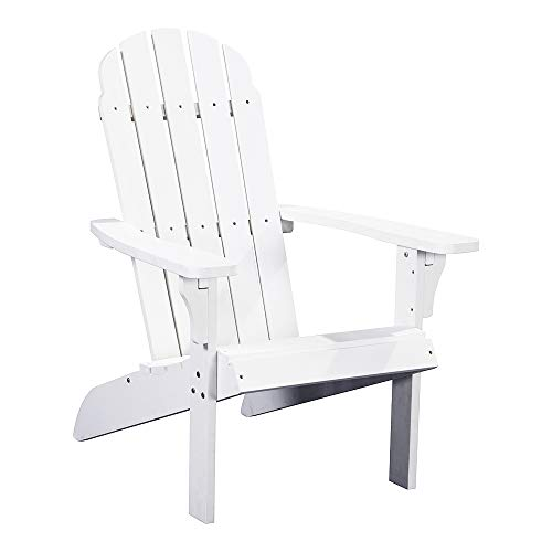 PolyTEAK Traditional Element Faux Wood Poly Adirondack Chair, White   Adult-Size, Weather Resistant,...