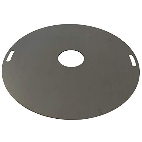 SRM-Design Feuerplatte Grillplatte Ø 100cm mit innen Griffe Materialstärke 5mm Barbecue Holzkohle-Grill Fassgrill Kugelgrill Feuertonne Stahlfass BBQ