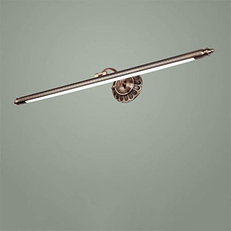 Oudan Retro- europisches Badezimmer-LED Spiegel-vorderes Licht, Wand-Lampe, wasserdichter Anti-Nebel feuchtigkeitsfest (rotes altes Kupfer) (Farbe  Warmes Licht-50CM8W) (Farbe   Weiß Light-90cm16w)