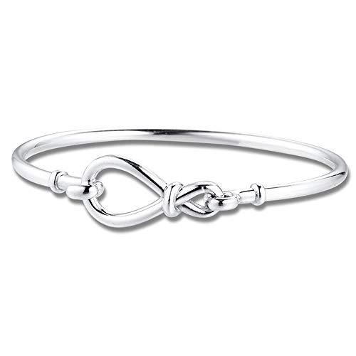 PANDOCCI 2020 Unendlichkeitsknoten Silber Armreif für Frauen 925 Silber DIY Passend für Original Pandora Armbänder Charm Fashion Jewelry (16CM)