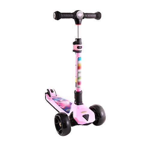 ZZL Stunt Scooters Patinete plegable para niños de 3 a 14 años de edad, ajustable de apoyo a dirección, ruedas intermitentes de PU (color: rosa)