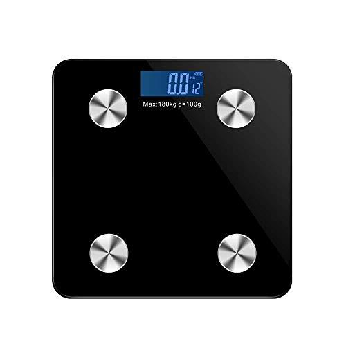 MissZZ Báscula Pesa Persona, Material de Vidrio Templado Ultrafino, hasta 180 kg de Peso, para Integrado con medición de Grasa Corporal, Masa magra y metabolismo basal, Negro