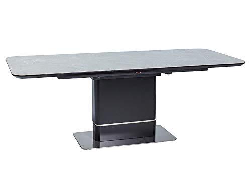 LUENRA Mesa de comedor rectangular extensible de madera y cerámica (efecto mármol) 160 (210) x 90 x 76 cm, patas de acero cepillado y madera, color negro mate y gris mármol