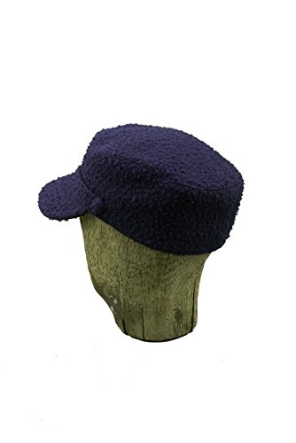 Cap with Brim, Unisex for Men and Women, Boy and Girl in Wool, Blue, Large