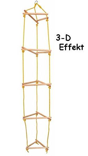 alles-meine.de GmbH 3-D Strickleiter / Kletterleiter - aus Holz - Jacobsleiter / Strickleiterturm - Leiter - Natur - Holzleiter - für Innen & Außen - Kletterwand / Kletterspielze