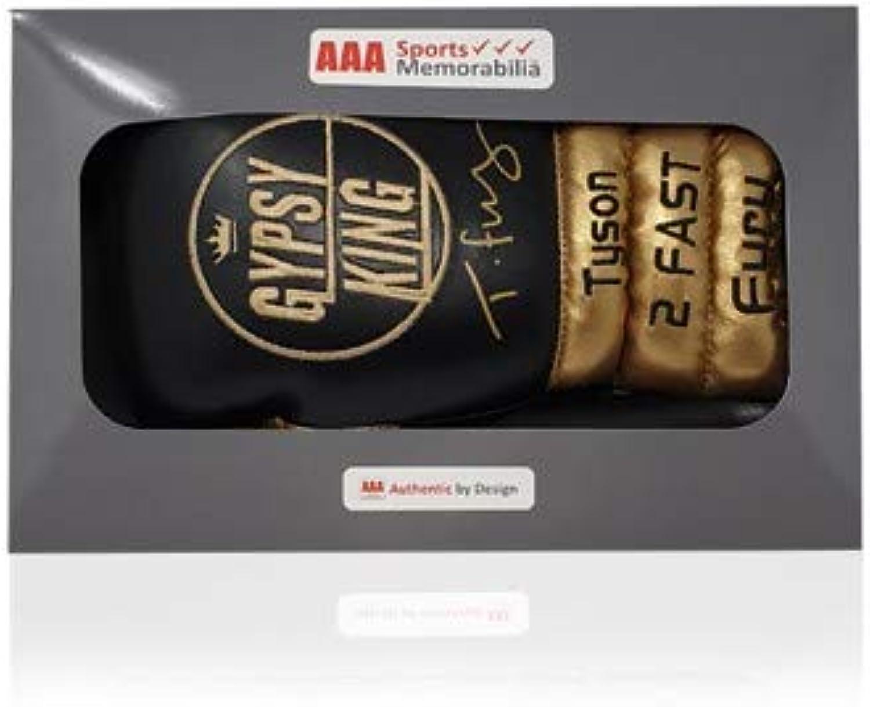 Felices compras Tyson Fury - Guantes de Boxeo Firmados por Gypsy King King King en Caja de Regalo AAA, Color Negro y Dorado  vendiendo bien en todo el mundo