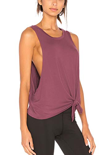 Bestisun Crop Workout Tops Yoga Clothes Activewear Athletic Tops Cropped Sleeveless Workout Tank Tops for Women Magenta XL