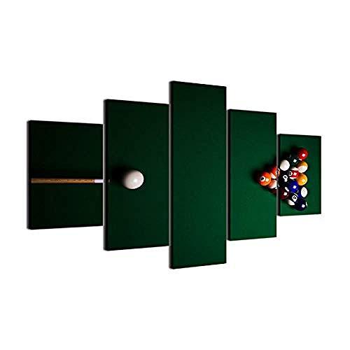 WSXYD Home Bilder Vlies Leinwandbild 5 Teilig - modern Kunstdruck Wandbilder Design Bild Wohnzimmer Wohnung Deko ÖlgemäldeColor billiards-30x40 30x60 30x80cm Rahmen