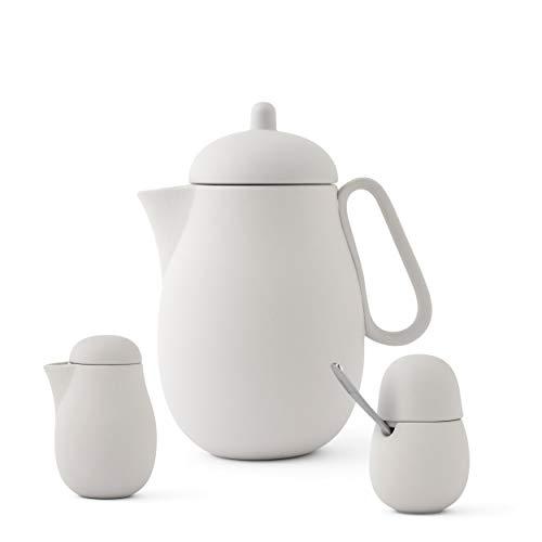 Tee-set Porzellan 3-teilig bestehend aus Designer Teekannne, Milchkännchen und Zuckerdose mit Löffel aus Edelstahl, Matt Sand Grau
