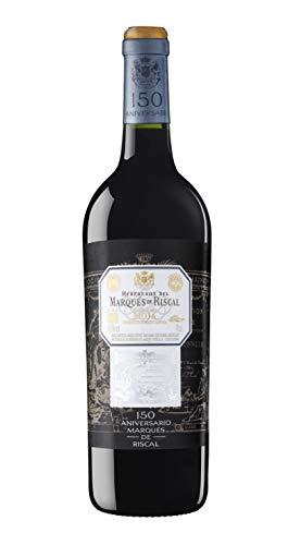 Marqués de Riscal - Vino tinto 150 Aniversario Denominación de Origen Calificada Rioja, Variedad principal Tempranillo, 32 meses en barrica francesa - Botella individual 750 ml
