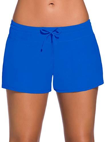 Ocean Plus Damen Unifarben Badeshorts mit Verstellbarem Tunnelzug Wassersport UV-Schutz Bikinihose Boardshorts Hotpants (L (EU 38-40), Blau)