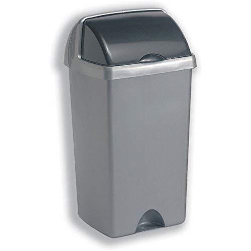 Cubo de basura sin tapa, 50L, gris metalizado