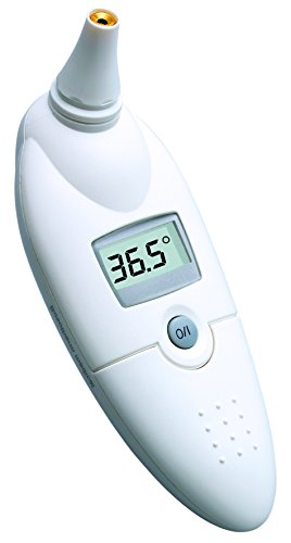 boso bosotherm medical – Digitales Infrarot-Fieberthermometer zur Körpertemperatur-Messung im Ohr mit Leucht-Display und Speicher für die letzte Messung – Inkl. Hygiene-Schutzhüllen