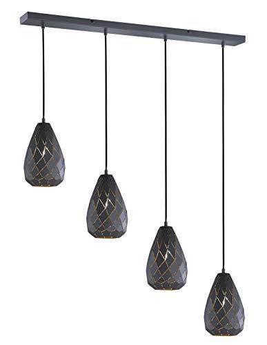 Trio Leuchten Pendelleuchte Onyx 301300442, Metall, anthrazit / innen goldfarbig, Kabel gewebeummantelt schwarz