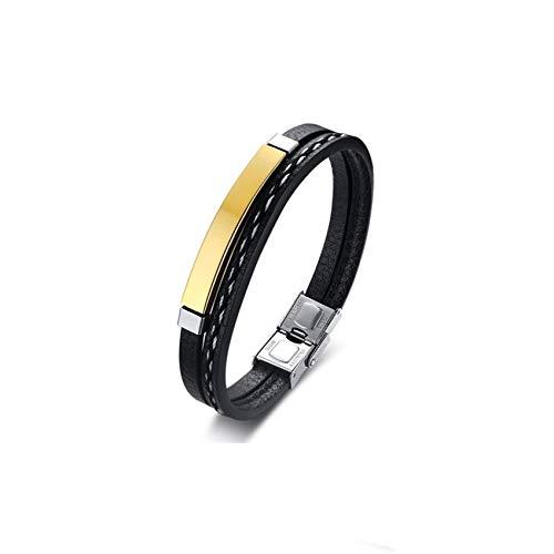 Ubestlove European Charm Bracelet Leather Woven Bracelet Stainless Steel Bracelet Chain Bracelet Cuban Bangle Bracelets Gold