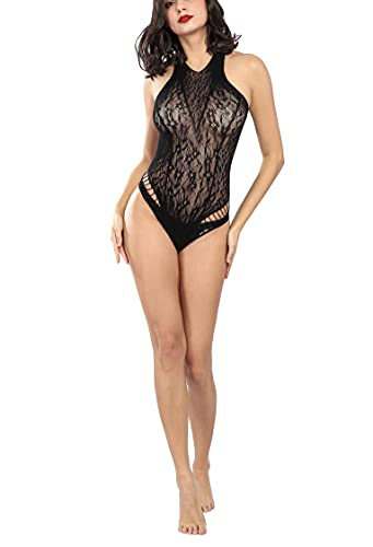 Jill Dolcetto Women One Piece Halter Backless Lace Lingerie See Through Bodysuit Snap Crotch Teddy