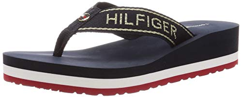 Tommy Hilfiger Metallic Mid Wedge Beach Sandal, Sandalias con Punta Abierta para Mujer