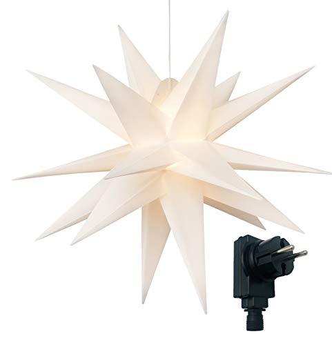 3D Leuchtstern inkl. warm-weißer LED Beleuchtung | für Innen und Außen geeignet | hängend | 7,5 m Zuleitung (weiß, ca. Ø 100 cm)