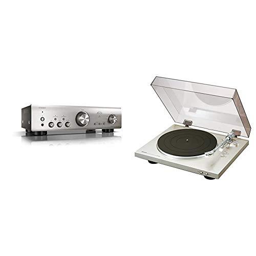 Denon PMA800NESPE2 Stereo-Vollverstärker (Aluminium Frontblende, 2X 85 Watt) Premium Silber & DP-300 F Vollautomatischer Plattenspieler (Riemenantrieb, integrierter Vorverstärker) Premium Silber