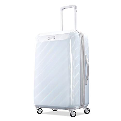 American Tourister Moonlight Hardside Expandable Luggage with Spinner Wheels, Iridescent White, Checked-Medium 24-Inch